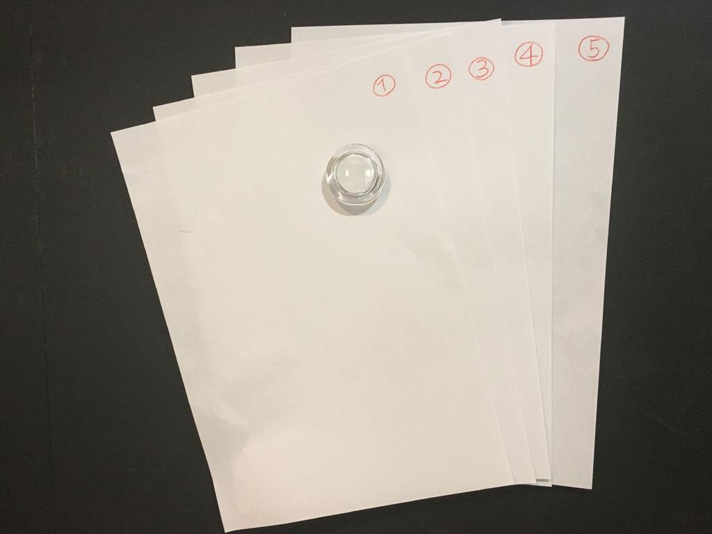 100円ショップで販売されている直径約40㎜のマグネットで、A4用紙5枚程度は大丈夫です。