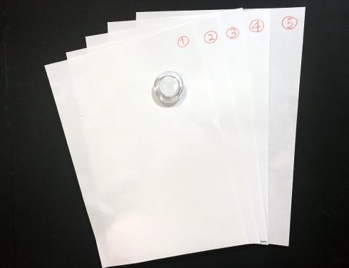 100円ショップで販売されている直径約40㎜の マグネットで、A4用紙5枚程度は大丈夫です。