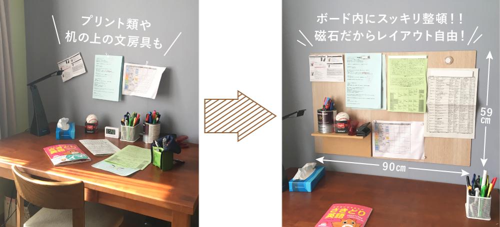 例えば机の前の壁に・・・貼るだけでマグネットが付きます!